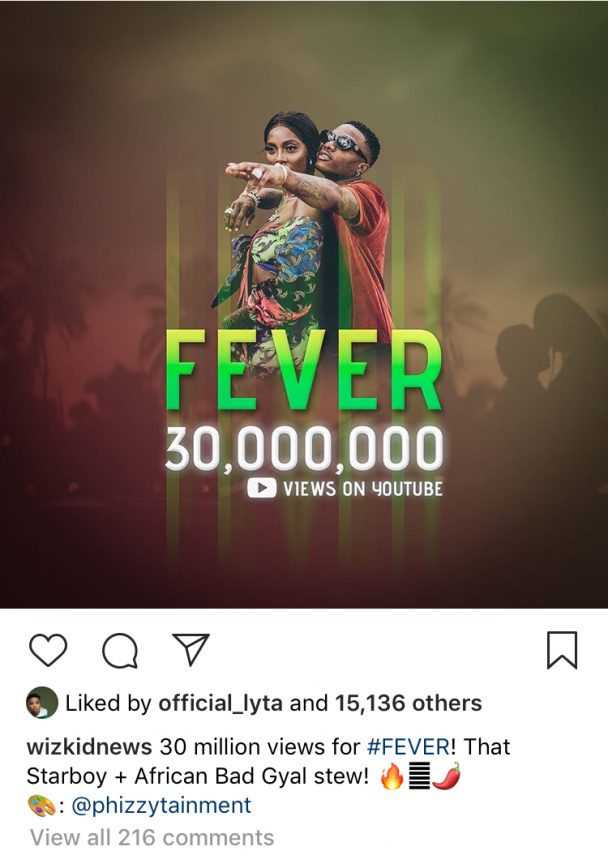 Wizkid Is Fabulous! Soco Hits 50Million Views And Fever Records