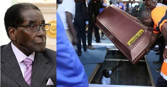 Image result for images of Robert Mugabe buried in steel coffin encased in concrete